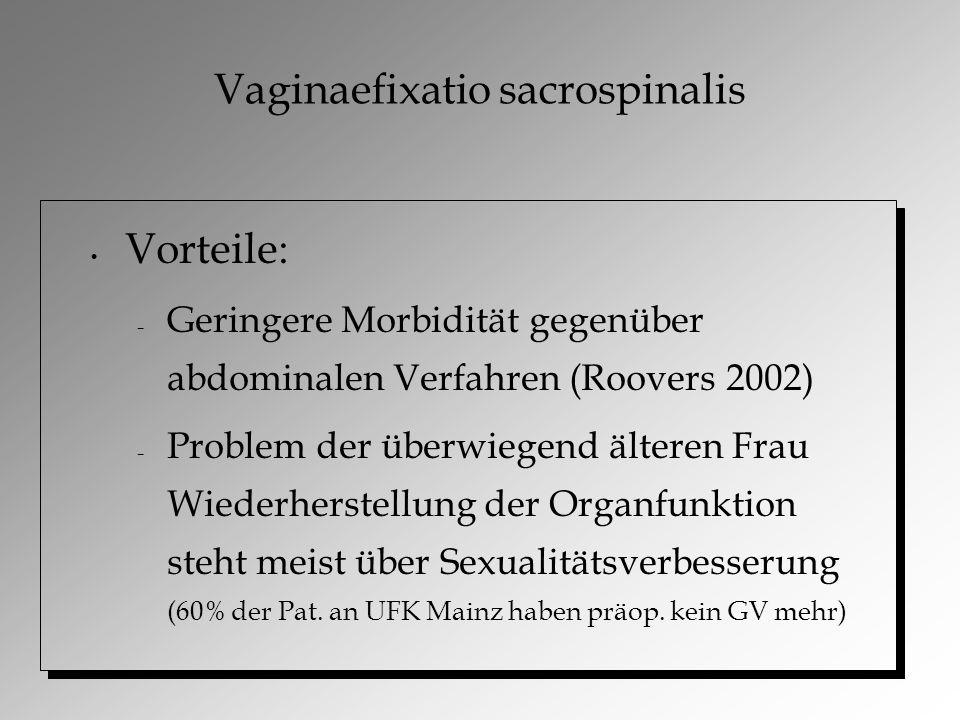 Vaginaefixatio sacrospinalis Vorteile: – Geringere Morbidität gegenüber abdominalen Verfahren (Roovers 2002) – Problem der überwiegend älteren Frau Wiederherstellung der Organfunktion steht meist über Sexualitätsverbesserung (60% der Pat.