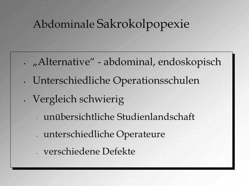 """Abdominale Sakrokolpopexie """"Alternative - abdominal, endoskopisch Unterschiedliche Operationsschulen Vergleich schwierig – unübersichtliche Studienlandschaft – unterschiedliche Operateure – verschiedene Defekte"""