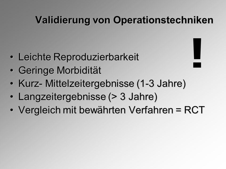 Validierung von Operationstechniken Leichte ReproduzierbarkeitLeichte Reproduzierbarkeit Geringe MorbiditätGeringe Morbidität Kurz- Mittelzeitergebnisse (1-3 Jahre)Kurz- Mittelzeitergebnisse (1-3 Jahre) Langzeitergebnisse (> 3 Jahre)Langzeitergebnisse (> 3 Jahre) Vergleich mit bewährten Verfahren = RCTVergleich mit bewährten Verfahren = RCT !