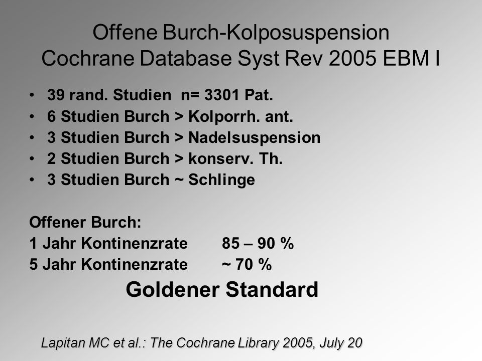 Offene Burch-Kolposuspension Cochrane Database Syst Rev 2005 EBM I 39 rand.