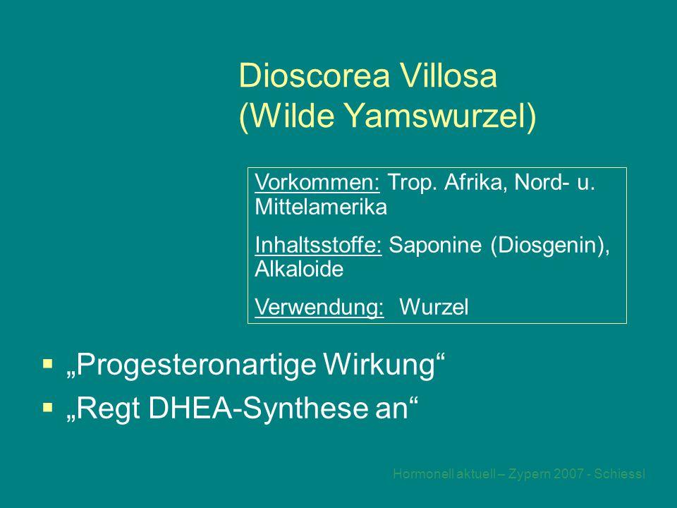 """Hormonell aktuell – Zypern 2007 - Schiessl Dioscorea Villosa (Wilde Yamswurzel)  """"Progesteronartige Wirkung  """"Regt DHEA-Synthese an Vorkommen: Trop."""