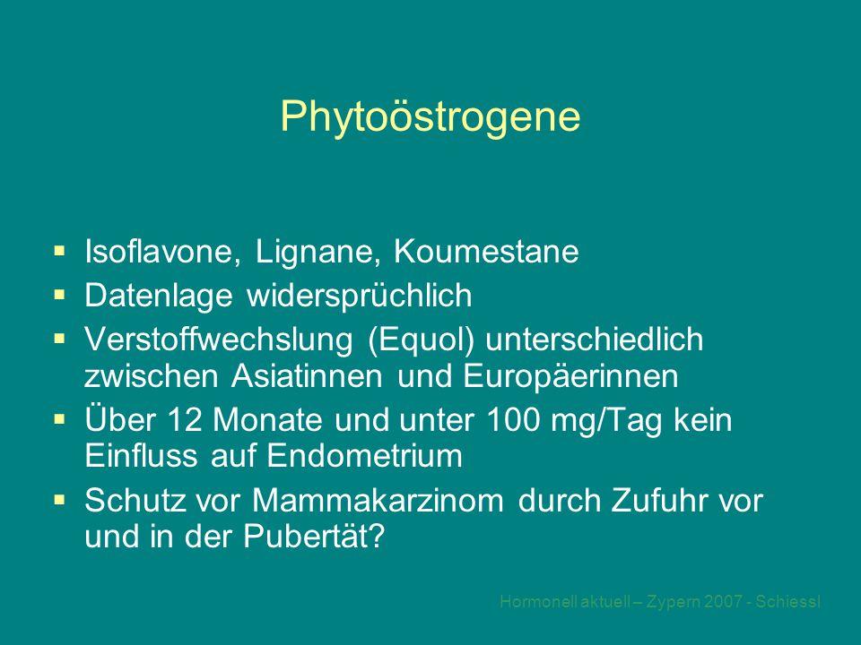 Hormonell aktuell – Zypern 2007 - Schiessl Phytoöstrogene  Isoflavone, Lignane, Koumestane  Datenlage widersprüchlich  Verstoffwechslung (Equol) unterschiedlich zwischen Asiatinnen und Europäerinnen  Über 12 Monate und unter 100 mg/Tag kein Einfluss auf Endometrium  Schutz vor Mammakarzinom durch Zufuhr vor und in der Pubertät?