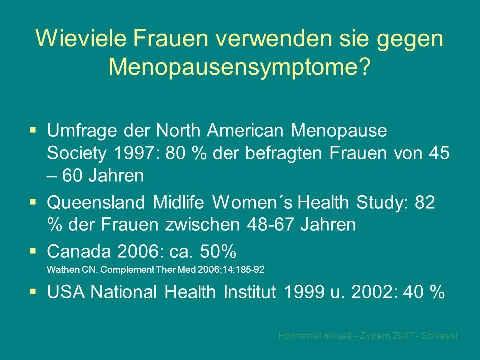 Hormonell aktuell – Zypern 2007 - Schiessl Wieviele Frauen verwenden sie gegen Menopausensymptome.
