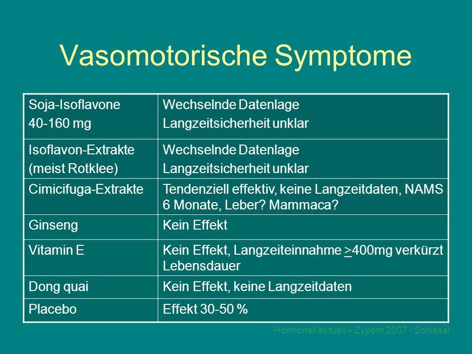 Hormonell aktuell – Zypern 2007 - Schiessl Vasomotorische Symptome Soja-Isoflavone 40-160 mg Wechselnde Datenlage Langzeitsicherheit unklar Isoflavon-Extrakte (meist Rotklee) Wechselnde Datenlage Langzeitsicherheit unklar Cimicifuga-ExtrakteTendenziell effektiv, keine Langzeitdaten, NAMS 6 Monate, Leber.