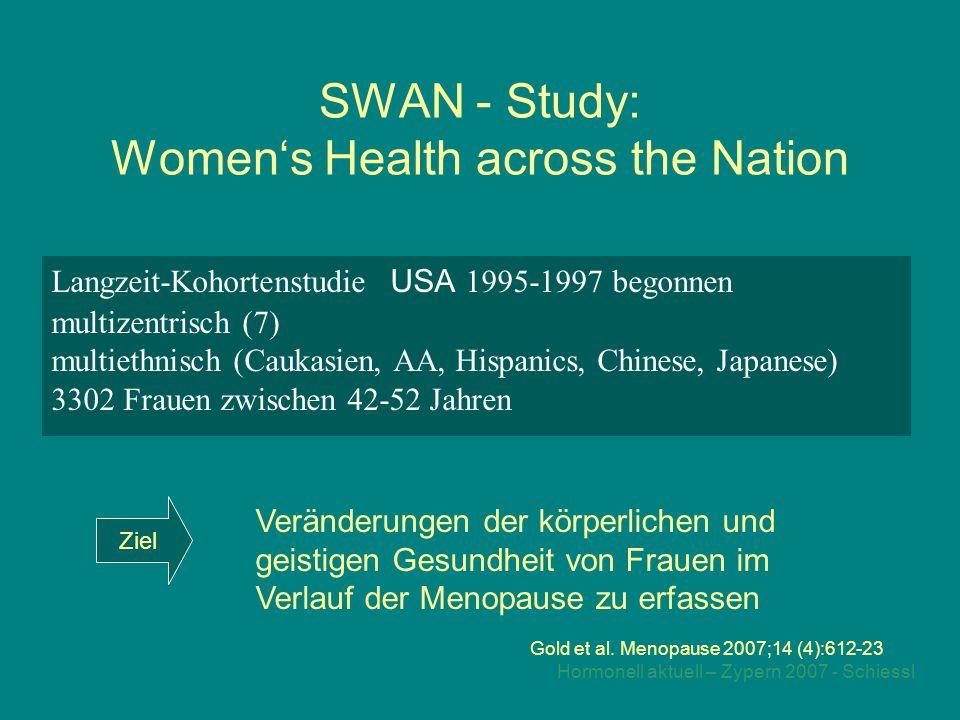 Hormonell aktuell – Zypern 2007 - Schiessl SWAN - Study: Women's Health across the Nation Langzeit-Kohortenstudie USA 1995-1997 begonnen multizentrisch (7) multiethnisch (Caukasien, AA, Hispanics, Chinese, Japanese) 3302 Frauen zwischen 42-52 Jahren Gold et al.