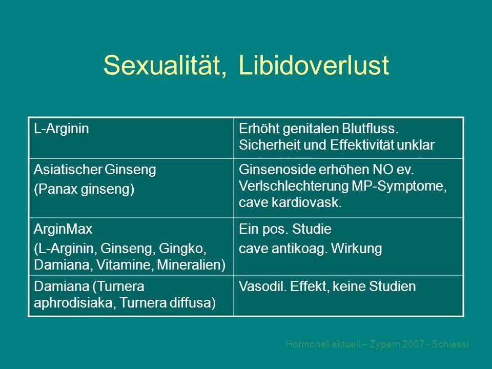 Hormonell aktuell – Zypern 2007 - Schiessl Sexualität, Libidoverlust L-ArgininErhöht genitalen Blutfluss.
