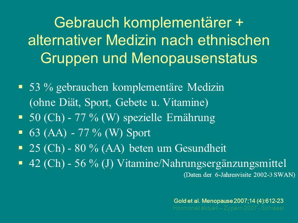 Hormonell aktuell – Zypern 2007 - Schiessl Gebrauch komplementärer + alternativer Medizin nach ethnischen Gruppen und Menopausenstatus Gold et al.
