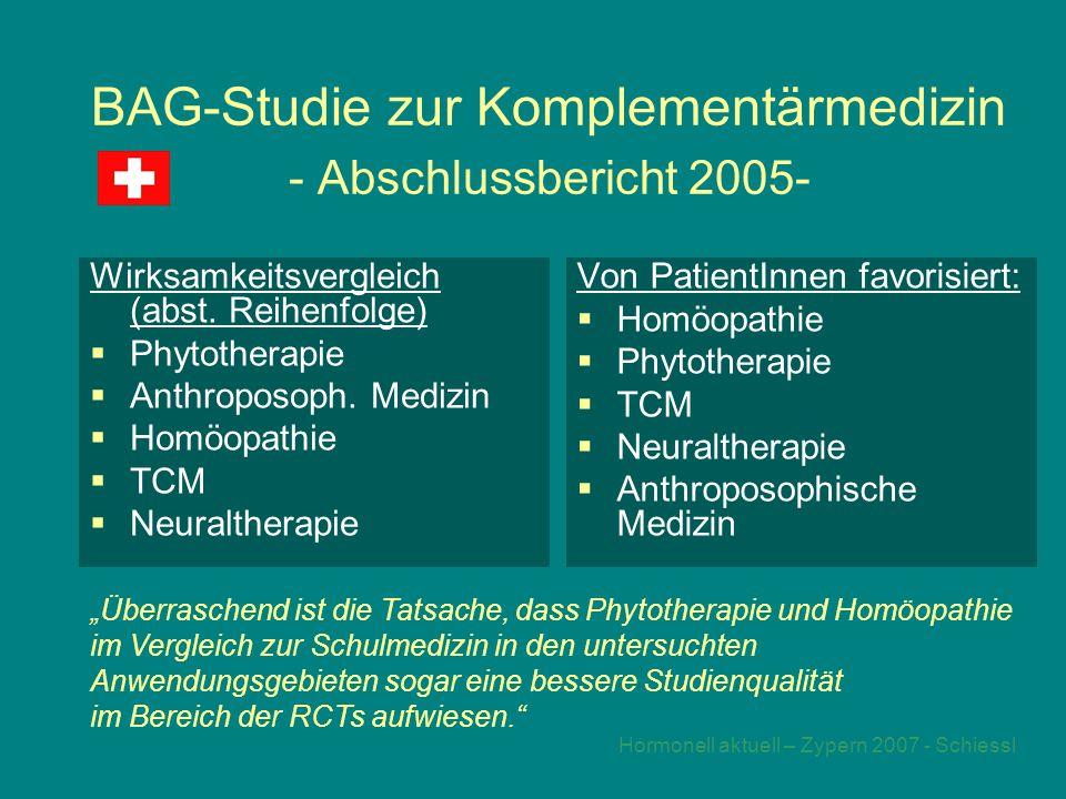Hormonell aktuell – Zypern 2007 - Schiessl BAG-Studie zur Komplementärmedizin - Abschlussbericht 2005- Wirksamkeitsvergleich (abst.
