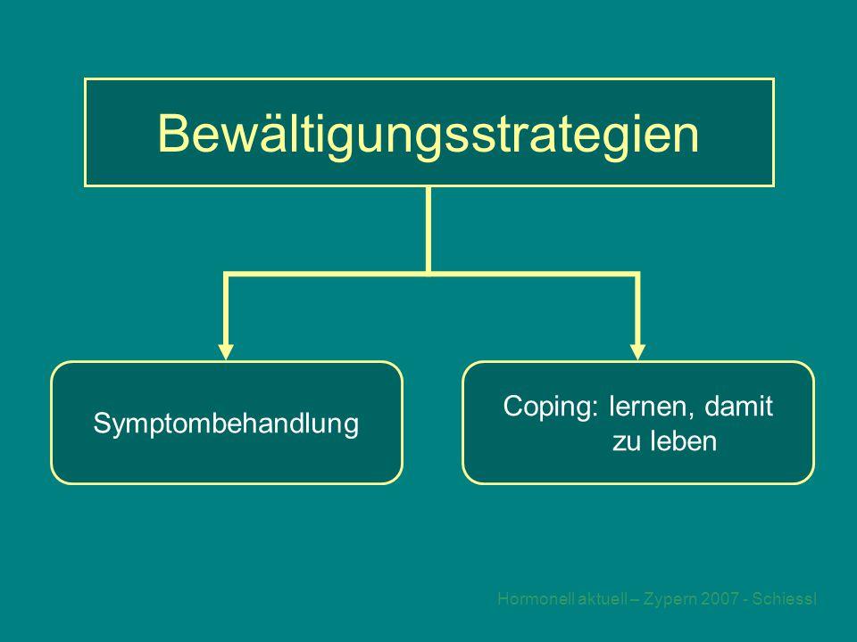 Hormonell aktuell – Zypern 2007 - Schiessl Bewältigungsstrategien Symptombehandlung Coping: lernen, damit zu leben