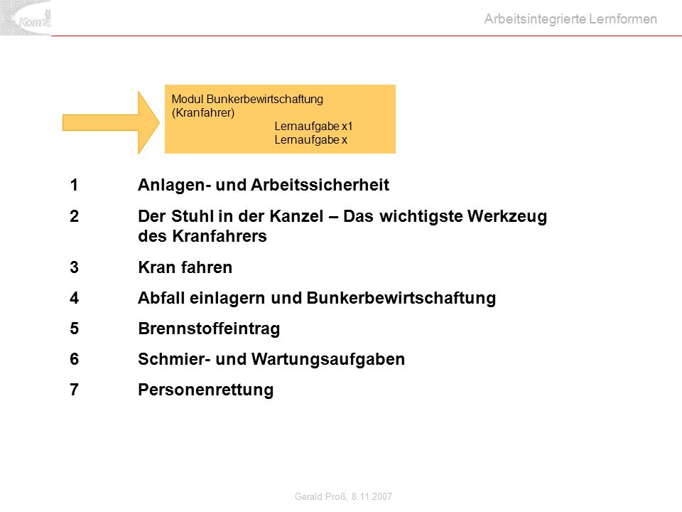 Gerald Proß, 8.11.2007 Arbeitsintegrierte Lernformen 1Anlagen- und Arbeitssicherheit 2Der Stuhl in der Kanzel – Das wichtigste Werkzeug des Kranfahrer