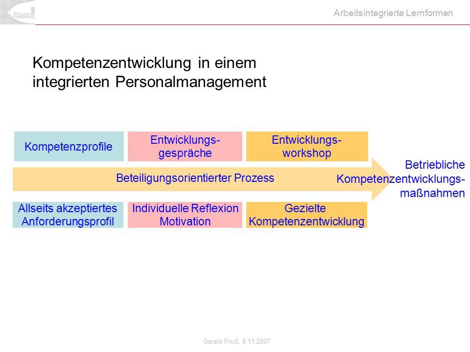 Gerald Proß, 8.11.2007 Arbeitsintegrierte Lernformen Kompetenzentwicklung in einem integrierten Personalmanagement Kompetenzprofile Entwicklungs- work