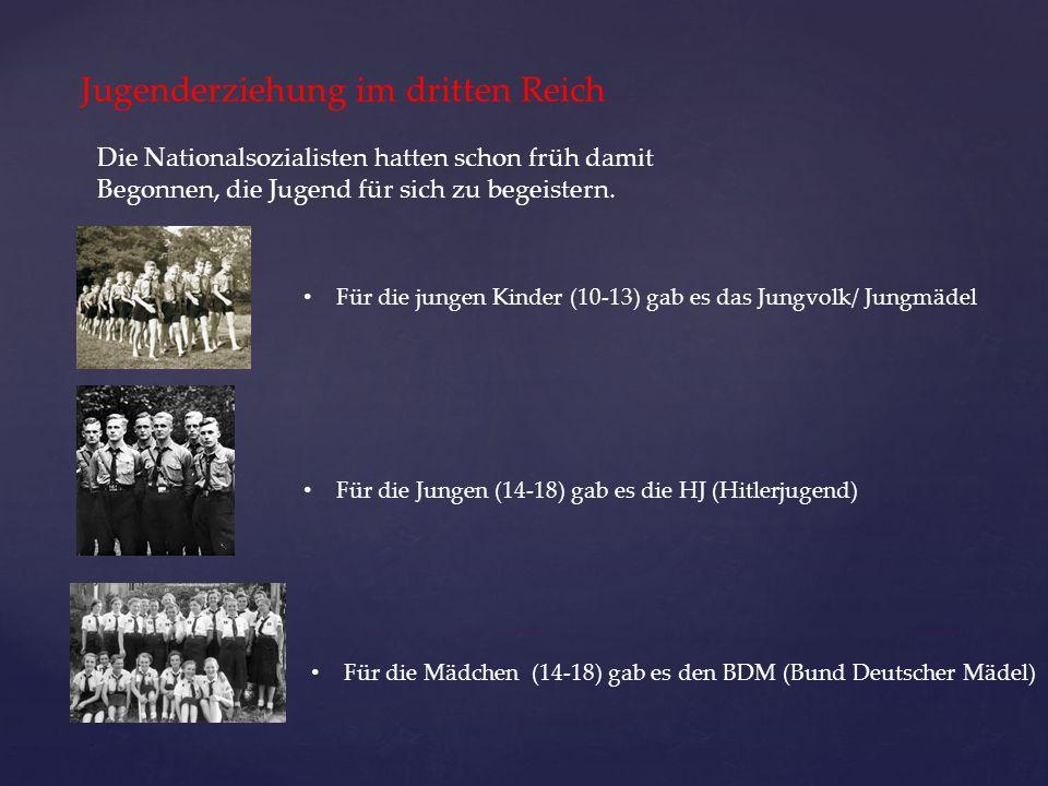 Jugenderziehung im dritten Reich Die Nationalsozialisten hatten schon früh damit Begonnen, die Jugend für sich zu begeistern. Für die jungen Kinder (1