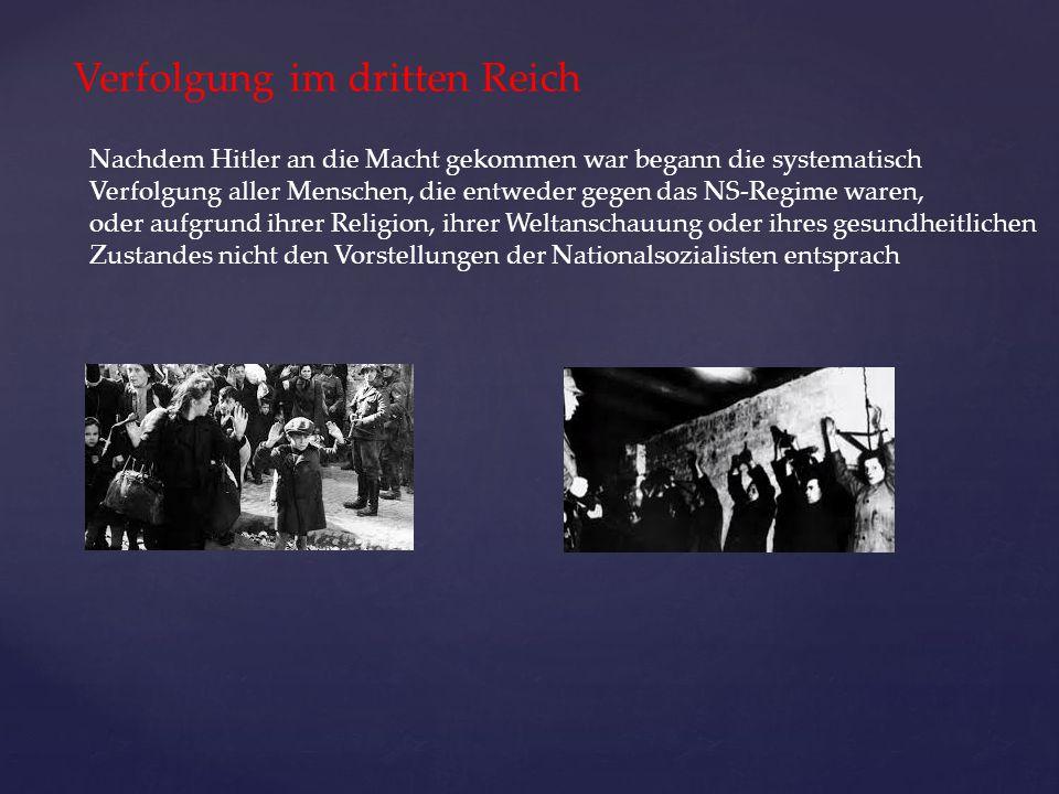 Verfolgung im dritten Reich Nachdem Hitler an die Macht gekommen war begann die systematisch Verfolgung aller Menschen, die entweder gegen das NS-Regi