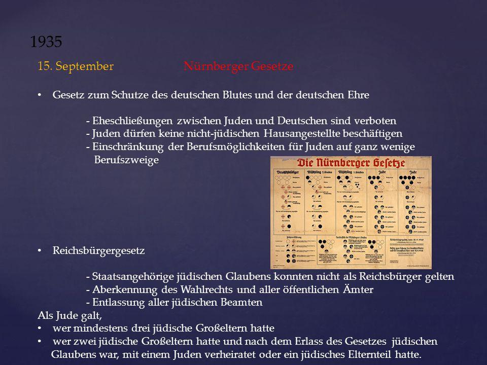 1935 15. September Nürnberger Gesetze Gesetz zum Schutze des deutschen Blutes und der deutschen Ehre - Eheschließungen zwischen Juden und Deutschen si