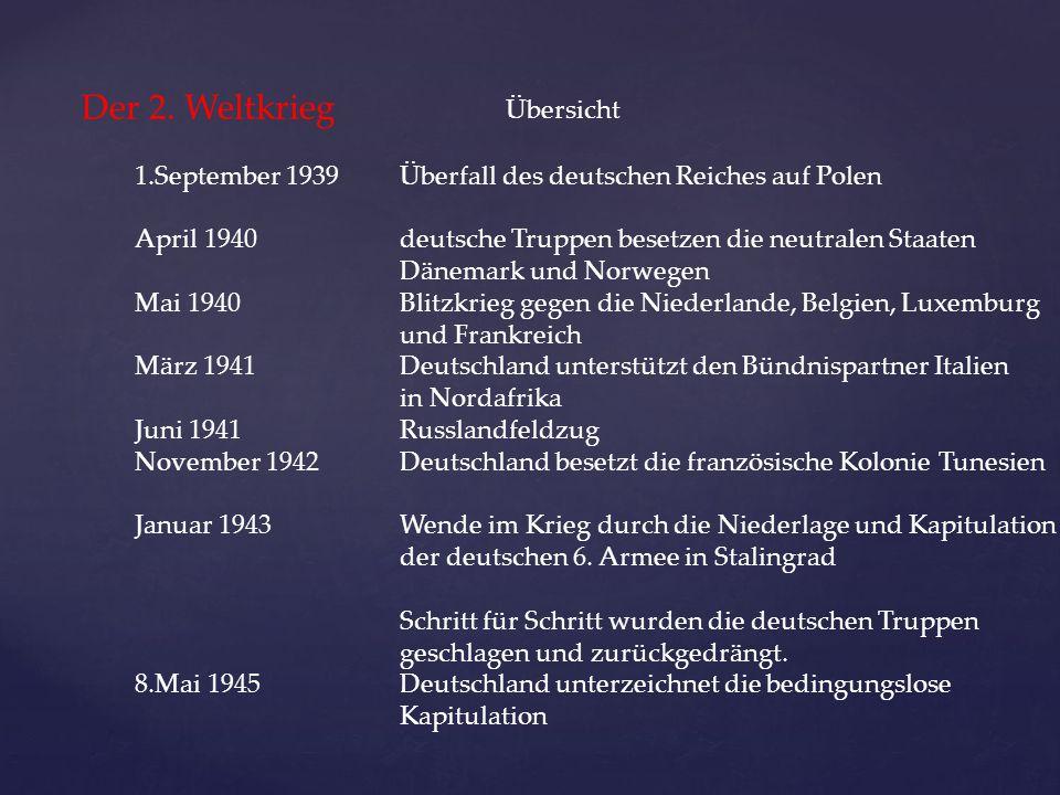 Der 2. Weltkrieg Übersicht 1.September 1939 Überfall des deutschen Reiches auf Polen April 1940deutsche Truppen besetzen die neutralen Staaten Dänemar