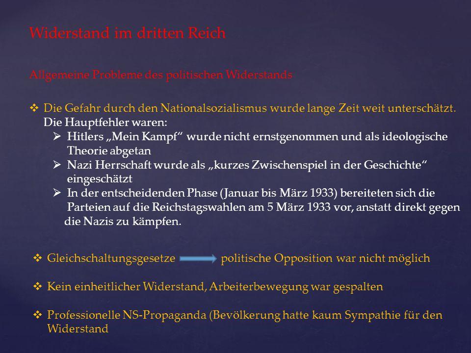 Widerstand im dritten Reich Allgemeine Probleme des politischen Widerstands  Die Gefahr durch den Nationalsozialismus wurde lange Zeit weit unterschä