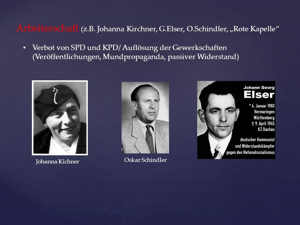 """Arbeiterschaft (z.B. Johanna Kirchner, G.Elser, O.Schindler, """"Rote Kapelle"""" Verbot von SPD und KPD/ Auflösung der Gewerkschaften (Veröffentlichungen,"""