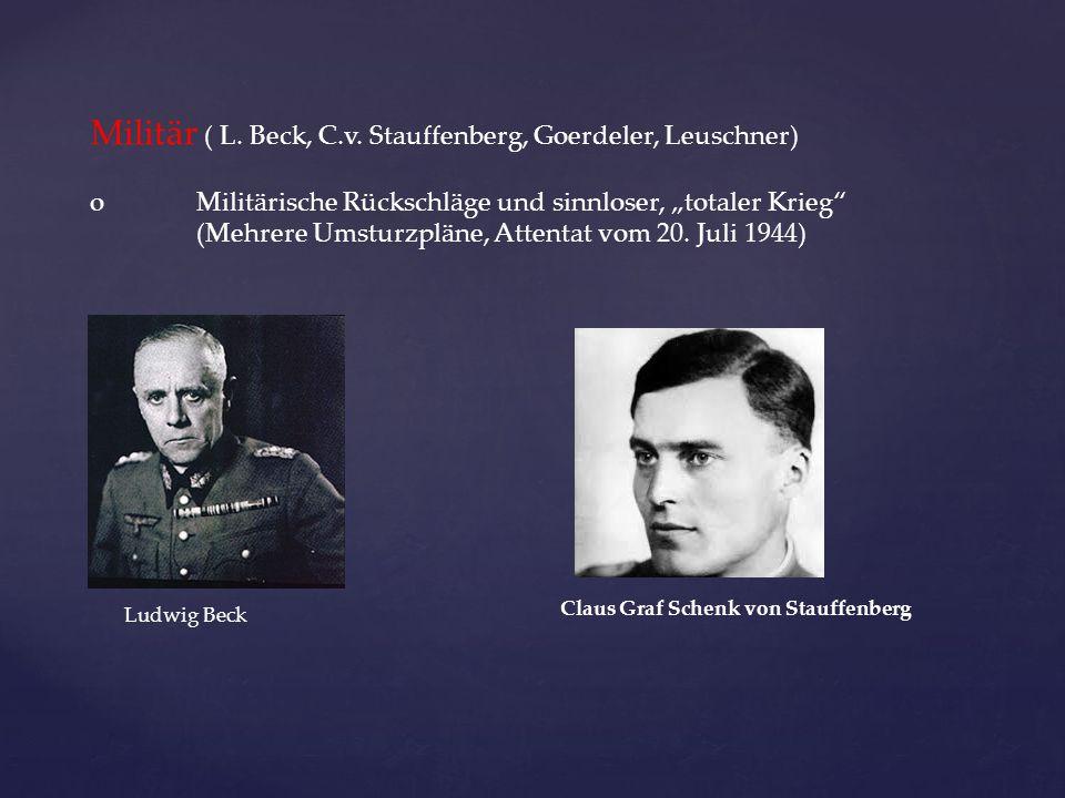 """Militär ( L. Beck, C.v. Stauffenberg, Goerdeler, Leuschner) oMilitärische Rückschläge und sinnloser, """"totaler Krieg"""" (Mehrere Umsturzpläne, Attentat v"""