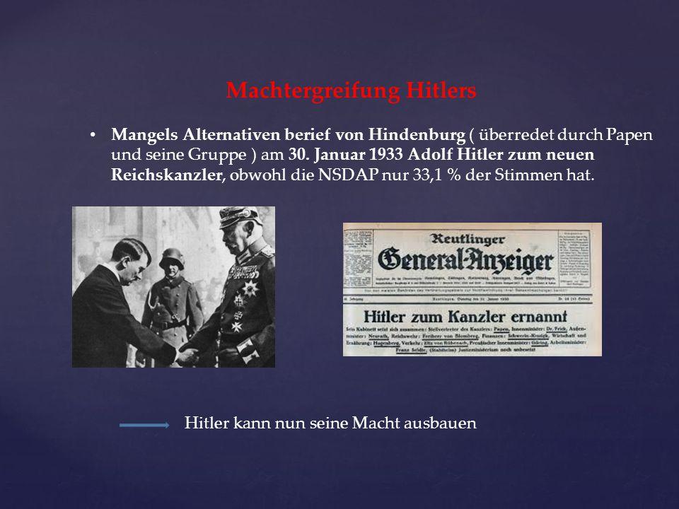 Machtergreifung Hitlers Mangels Alternativen berief von Hindenburg ( überredet durch Papen und seine Gruppe ) am 30. Januar 1933 Adolf Hitler zum neue