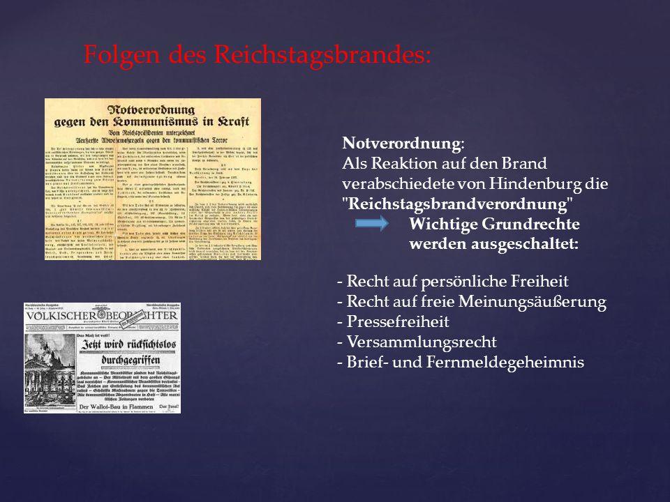 Folgen des Reichstagsbrandes: Notverordnung: Als Reaktion auf den Brand verabschiedete von Hindenburg die