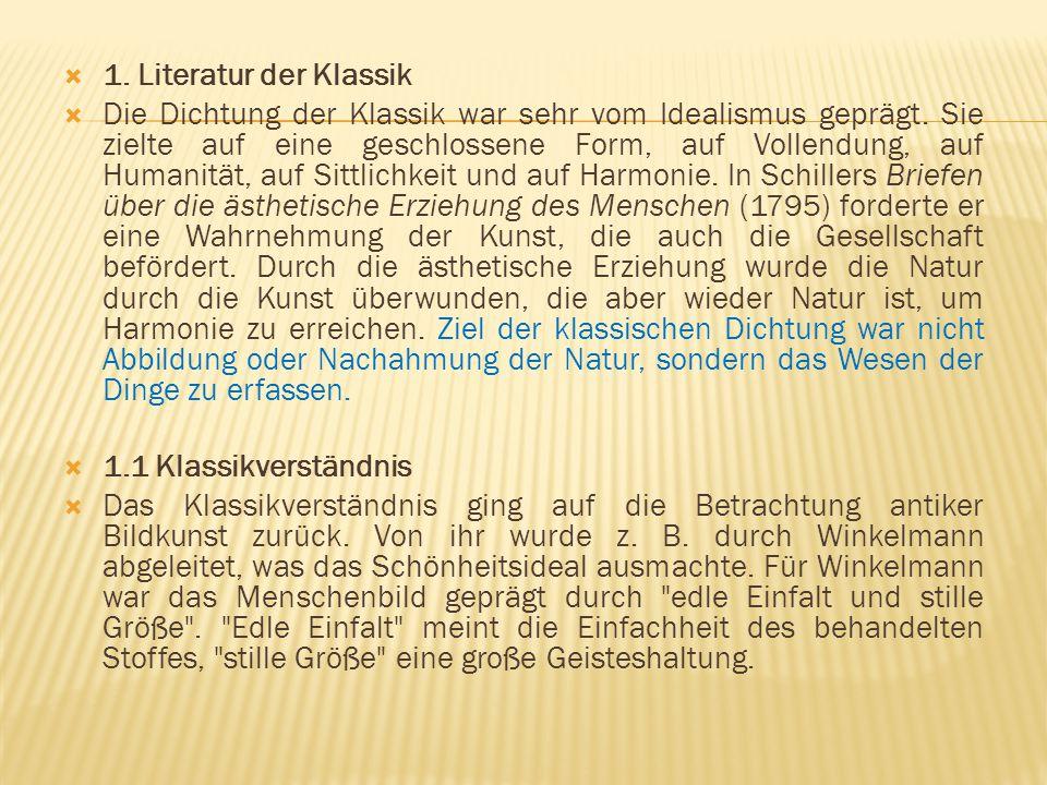  1. Literatur der Klassik  Die Dichtung der Klassik war sehr vom Idealismus geprägt. Sie zielte auf eine geschlossene Form, auf Vollendung, auf Huma