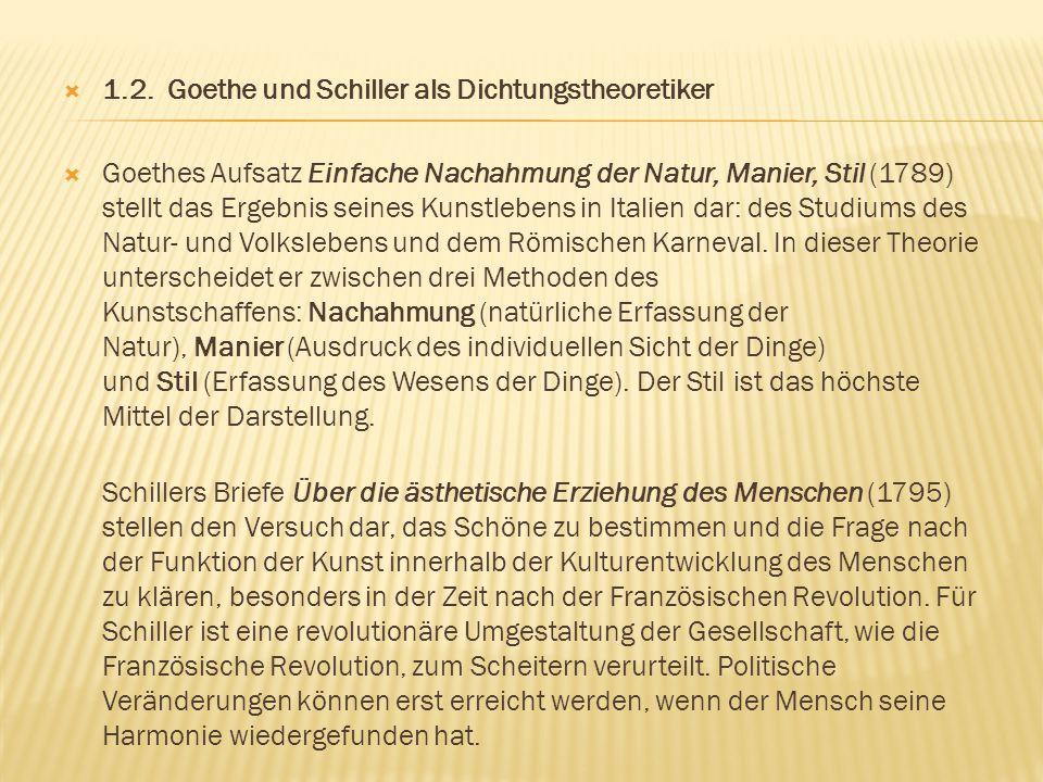  1.2. Goethe und Schiller als Dichtungstheoretiker  Goethes Aufsatz Einfache Nachahmung der Natur, Manier, Stil (1789) stellt das Ergebnis seines Ku