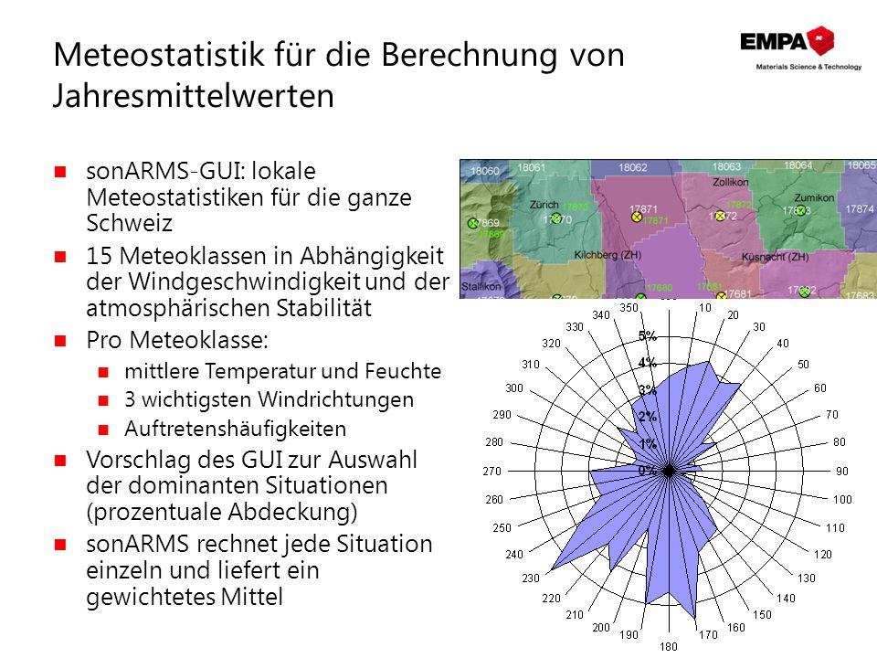 Meteostatistik für die Berechnung von Jahresmittelwerten sonARMS-GUI: lokale Meteostatistiken für die ganze Schweiz 15 Meteoklassen in Abhängigkeit de