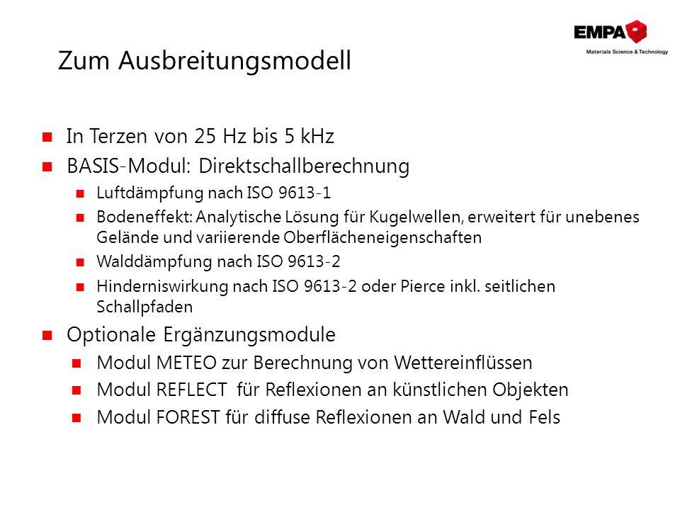 Zum Ausbreitungsmodell In Terzen von 25 Hz bis 5 kHz BASIS-Modul: Direktschallberechnung Luftdämpfung nach ISO 9613-1 Bodeneffekt: Analytische Lösung