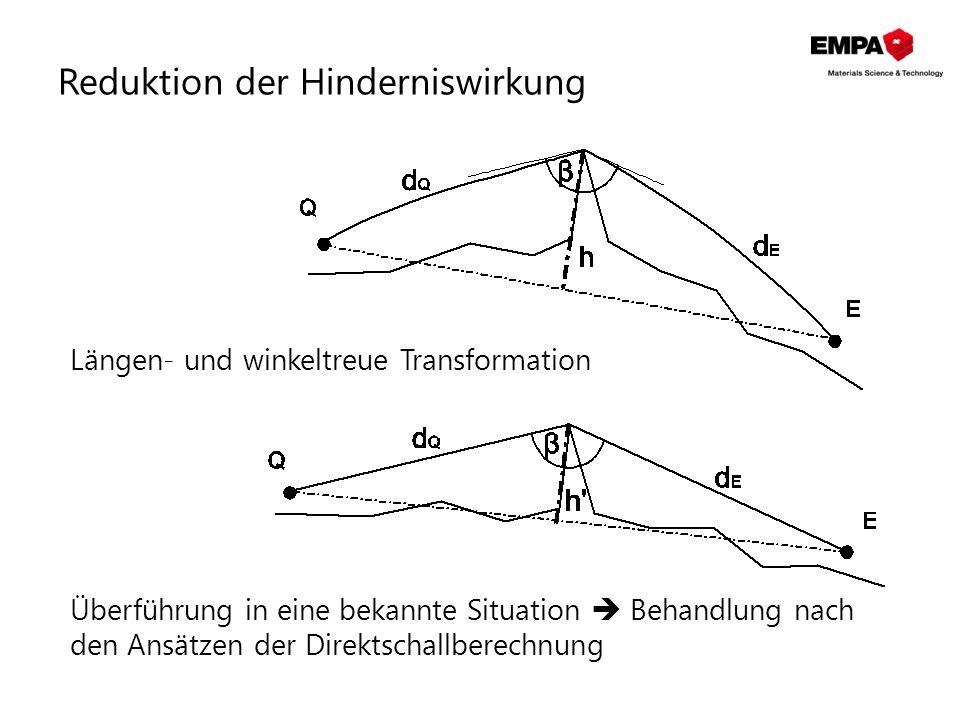 , Reduktion der Hinderniswirkung Längen- und winkeltreue Transformation Überführung in eine bekannte Situation  Behandlung nach den Ansätzen der Dire