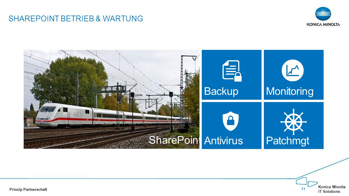 11 Konica Minolta IT Solutions Prinzip Partnerschaft SHAREPOINT BETRIEB & WARTUNG Shar e SharePoint