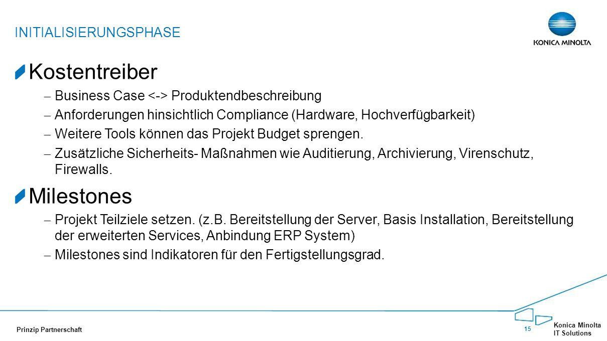 15 Konica Minolta IT Solutions Prinzip Partnerschaft Kostentreiber  Business Case Produktendbeschreibung  Anforderungen hinsichtlich Compliance (Har