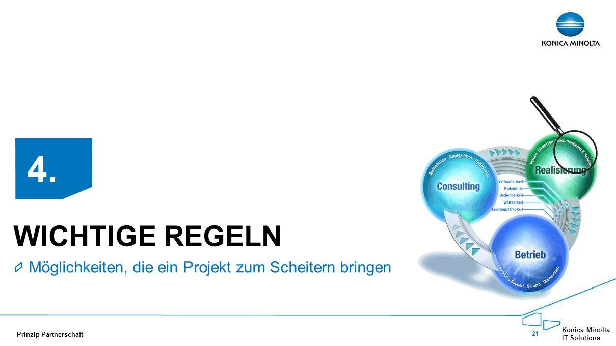21 Konica Minolta IT Solutions Prinzip Partnerschaft WICHTIGE REGELN Möglichkeiten, die ein Projekt zum Scheitern bringen 4.