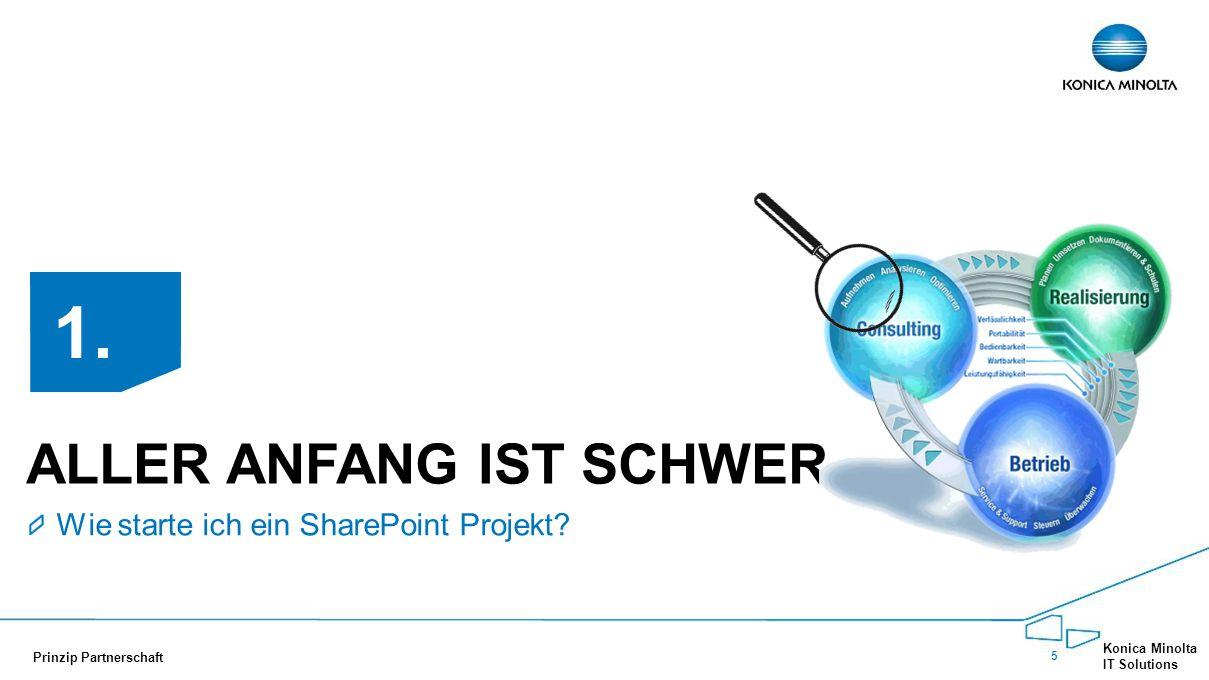 5 Konica Minolta IT Solutions Prinzip Partnerschaft ALLER ANFANG IST SCHWER Wie starte ich ein SharePoint Projekt? 1.