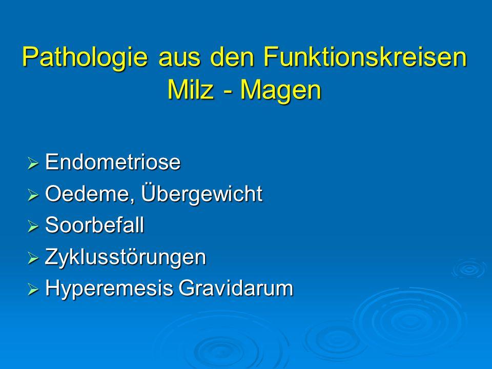 Pathologie aus den Funktionskreisen Milz - Magen  Endometriose  Oedeme, Übergewicht  Soorbefall  Zyklusstörungen  Hyperemesis Gravidarum