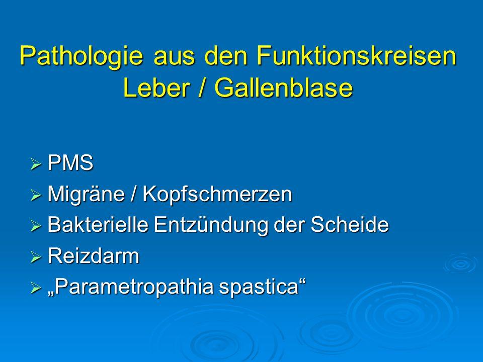 """Pathologie aus den Funktionskreisen Leber / Gallenblase  PMS  Migräne / Kopfschmerzen  Bakterielle Entzündung der Scheide  Reizdarm  """"Parametropa"""
