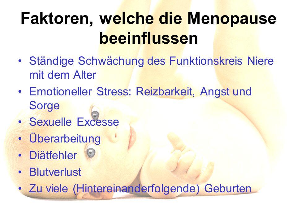 Faktoren, welche die Menopause beeinflussen Ständige Schwächung des Funktionskreis Niere mit dem Alter Emotioneller Stress: Reizbarkeit, Angst und Sor