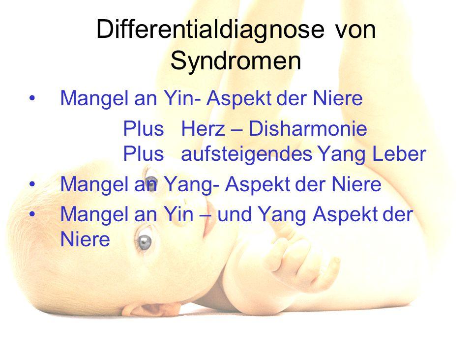 Differentialdiagnose von Syndromen Mangel an Yin- Aspekt der Niere Plus Herz – Disharmonie Plus aufsteigendes Yang Leber Mangel an Yang- Aspekt der Ni