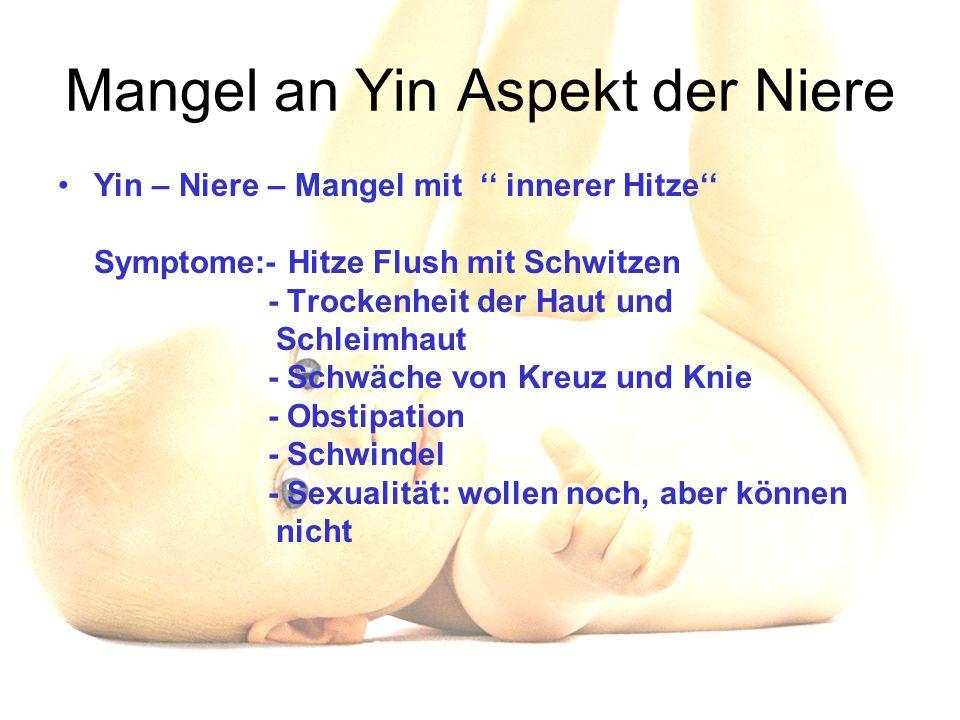 Mangel an Yin Aspekt der Niere Yin – Niere – Mangel mit '' innerer Hitze'' Symptome:- Hitze Flush mit Schwitzen - Trockenheit der Haut und Schleimhaut