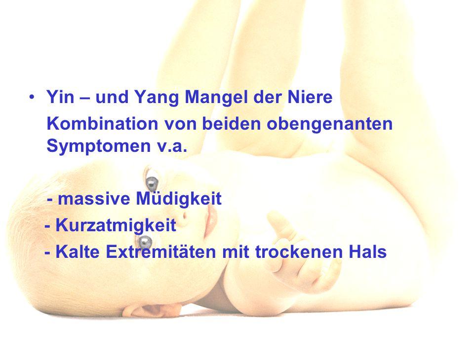 Yin – und Yang Mangel der Niere Kombination von beiden obengenanten Symptomen v.a. - massive Müdigkeit - Kurzatmigkeit - Kalte Extremitäten mit trocke