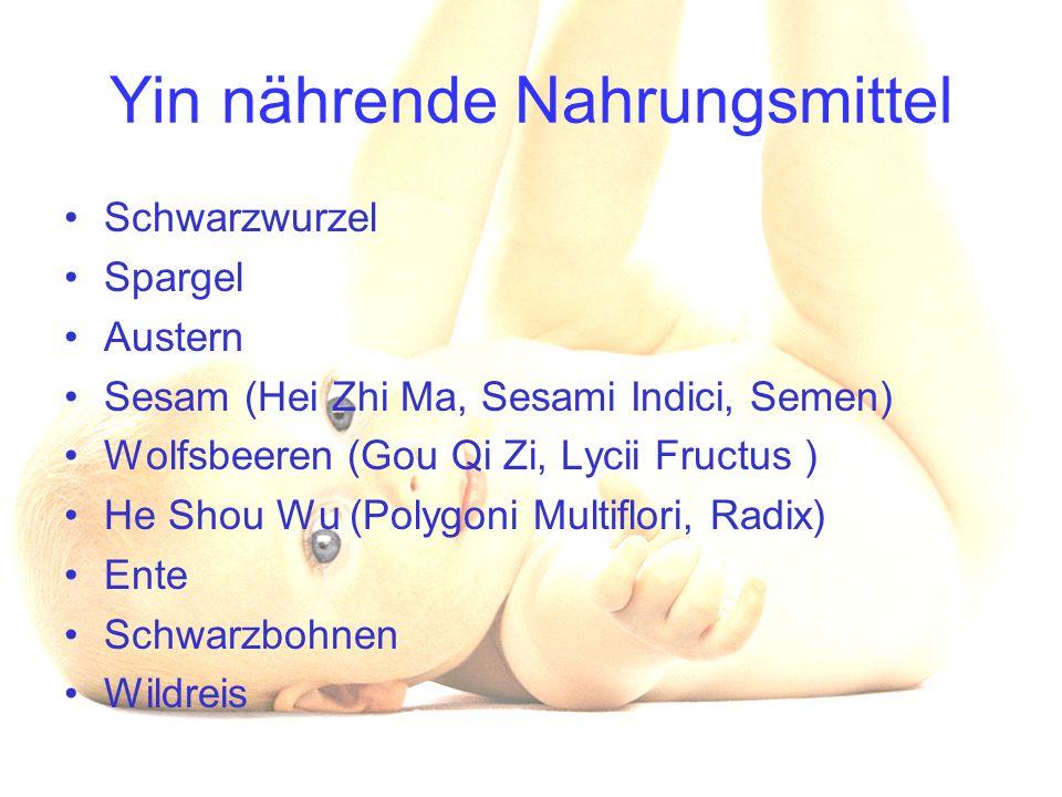 Yin nährende Nahrungsmittel Schwarzwurzel Spargel Austern Sesam (Hei Zhi Ma, Sesami Indici, Semen) Wolfsbeeren (Gou Qi Zi, Lycii Fructus ) He Shou Wu