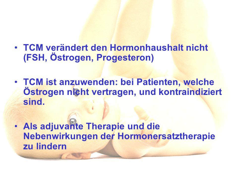 TCM verändert den Hormonhaushalt nicht (FSH, Östrogen, Progesteron) TCM ist anzuwenden: bei Patienten, welche Östrogen nicht vertragen, und kontraindi