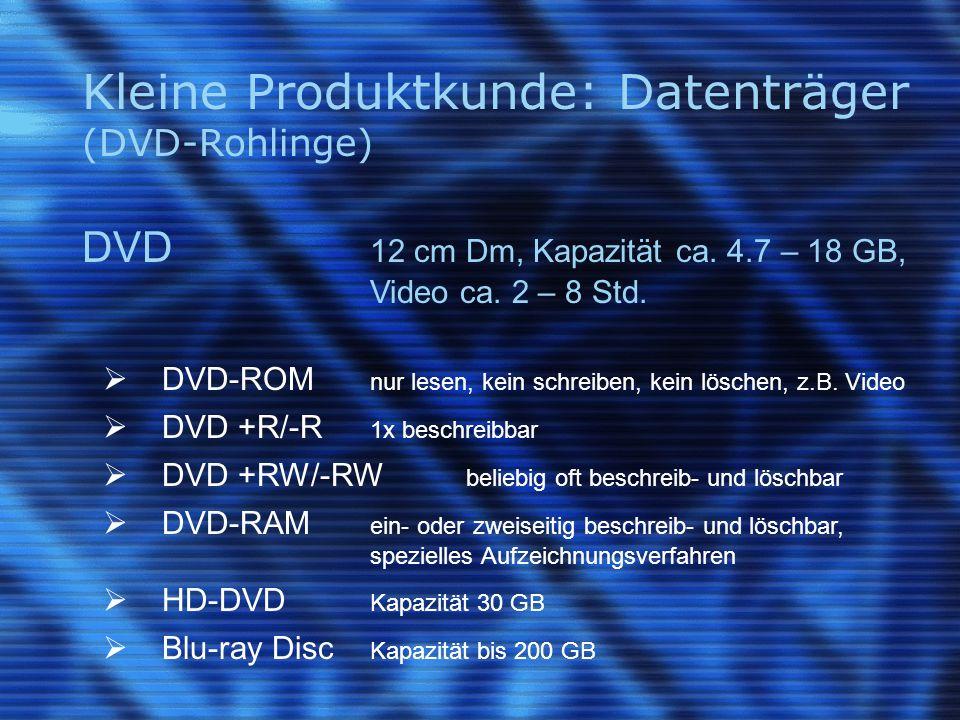 Kleine Produktkunde: Datenträger (DVD-Rohlinge) DVD 12 cm Dm, Kapazität ca.
