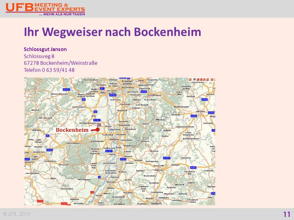 © UFB, 2015 12 Ihr Wegweiser nach Bissersheim Knipsers Halbstück Hollergasse 2 D-67281 Bissersheim/Pfalz Telefon 0 63 59/945 92 11