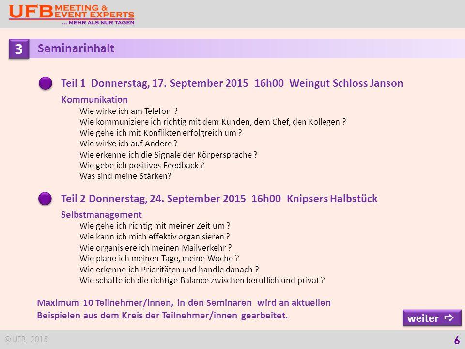 © UFB, 2015 6 3 3 Seminarinhalt Teil 1 Donnerstag, 17.