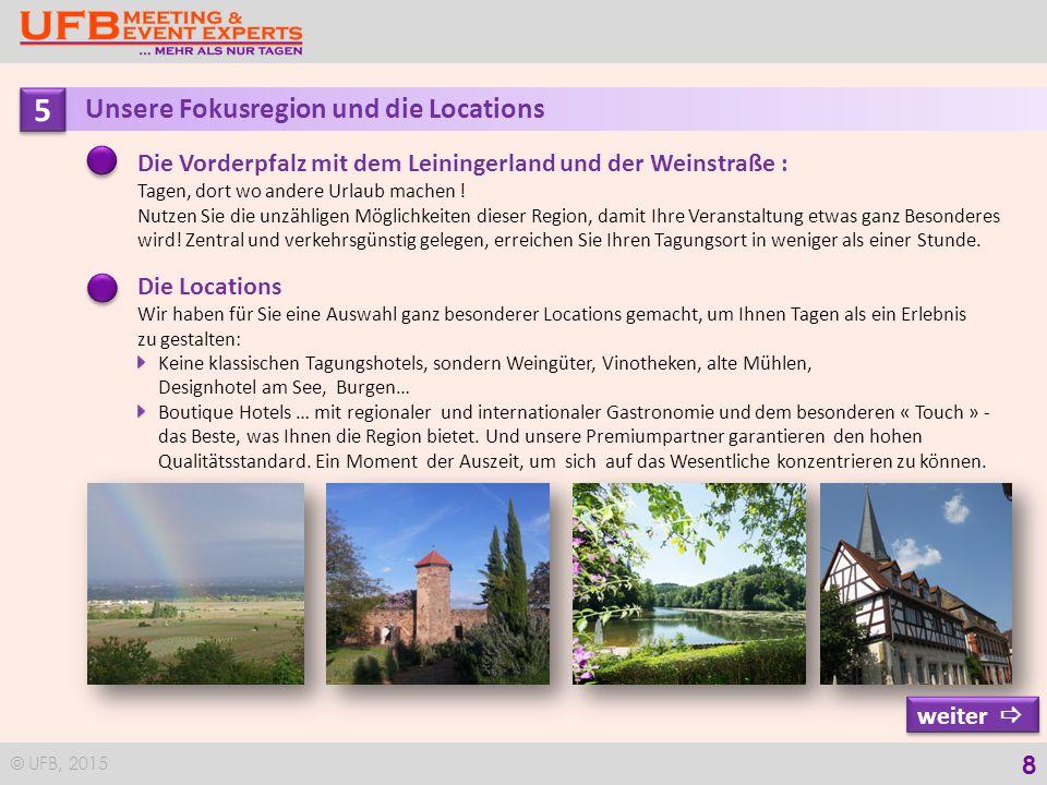 © UFB, 2015 9 5 5 Die Locations für Ihr Seminar Donnerstag, 17.