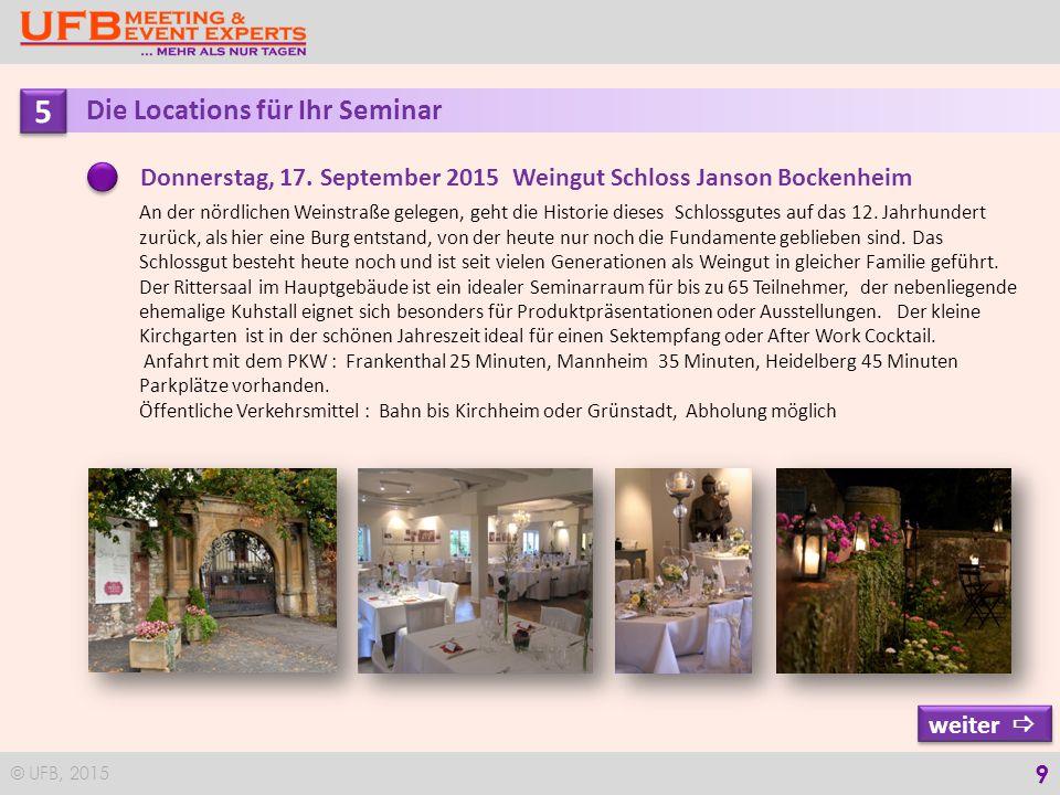 © UFB, 2015 10 5 5 Die Locations für Ihr Seminar Denkmalgeschützes Barockhaus in dem kleinen Weinort; welches 2014 nach sorgfältiger Renovierung eröffnet wurde.