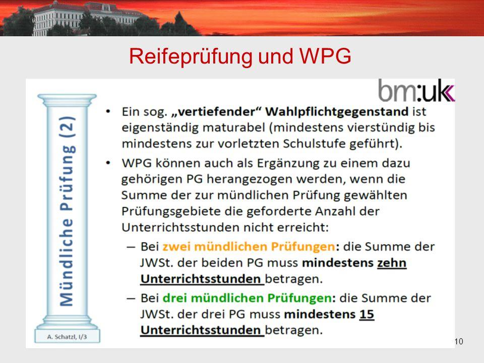 10 Reifeprüfung und WPG