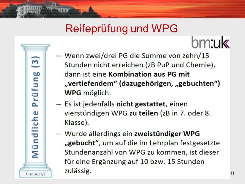 11 Reifeprüfung und WPG