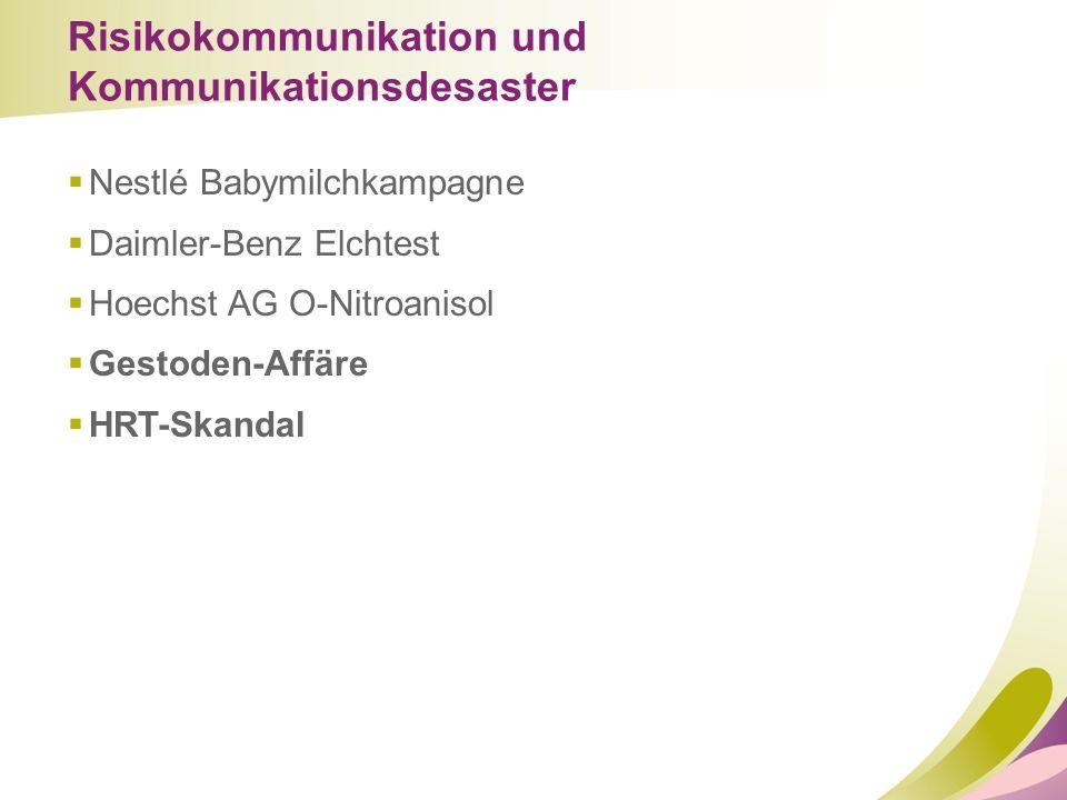 Risikokommunikation und Kommunikationsdesaster  Nestlé Babymilchkampagne  Daimler-Benz Elchtest  Hoechst AG O-Nitroanisol  Gestoden-Affäre  HRT-S