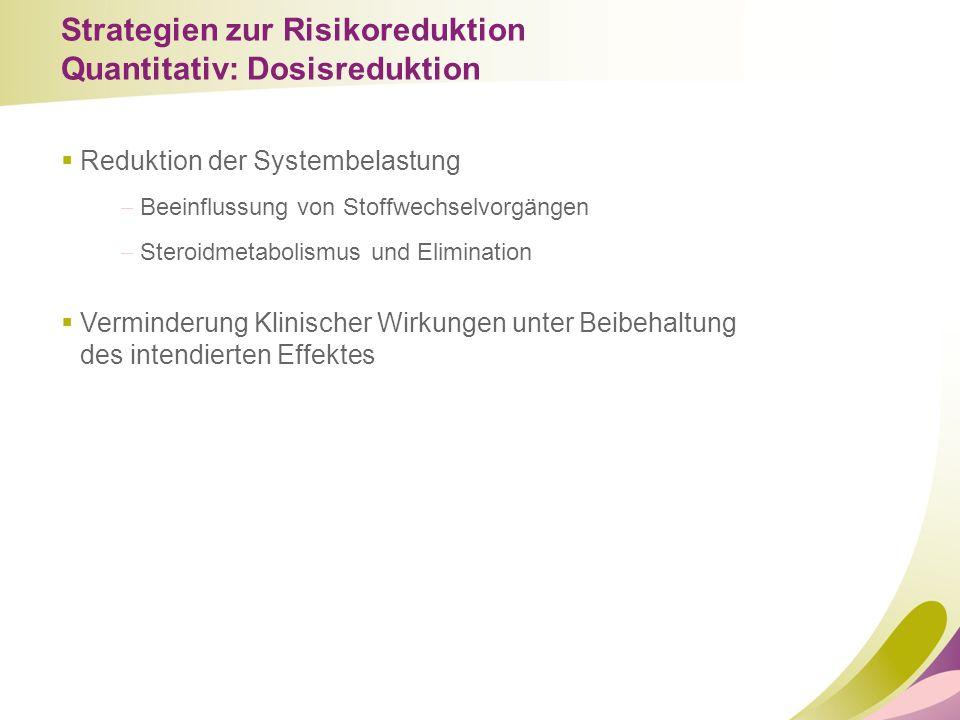 Strategien zur Risikoreduktion Quantitativ: Dosisreduktion  Reduktion der Systembelastung  Beeinflussung von Stoffwechselvorgängen  Steroidmetaboli